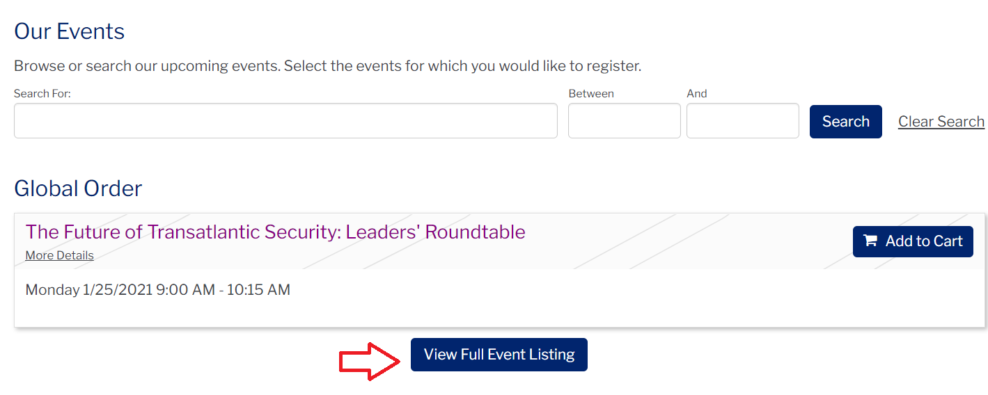 Screenshot of the PWH event page with an arrow pointing to the 'View Full Event Listing' section