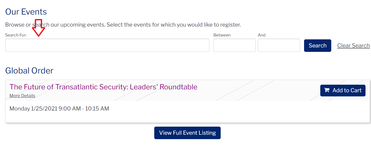 Screenshot of the PWH event page with an arrow pointing to the 'Search For' section