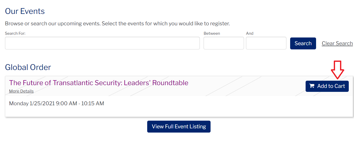 Screenshot of the PWH event page with an arrow pointing to the 'Add to Cart' section