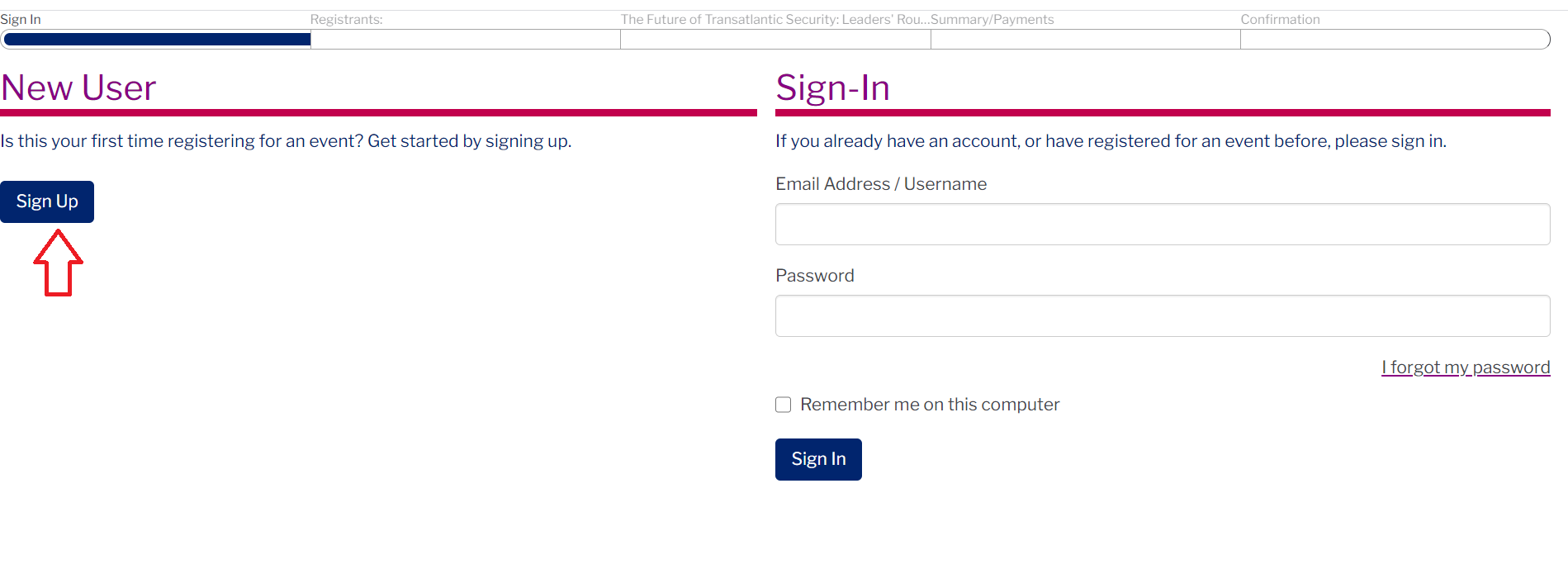 Screenshot of the PWH event registration page with an arrow pointing to 'New User'