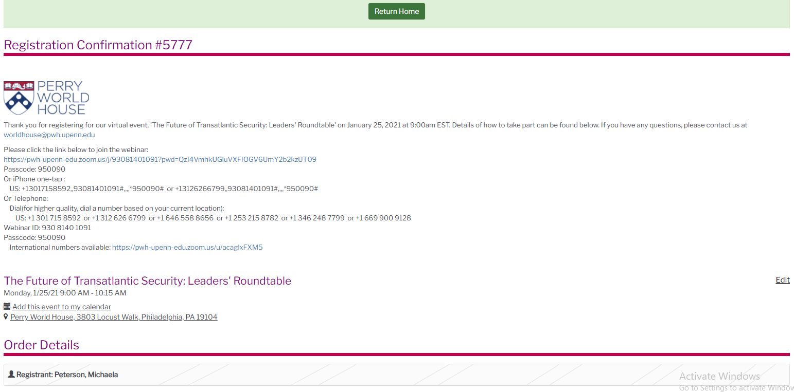 Screenshot of the PWH registration confirmation page
