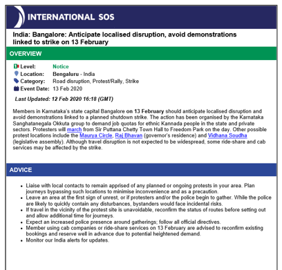 ISOS Sample Alert indicating the risk level/overview of a potential situation and a second section of the alert that details advice. Exact text varies per the situation, main information to be taken from image is that the alert explains the situation and gives advice.