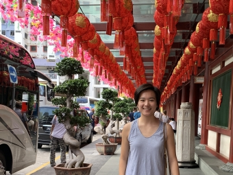 Jackie on a street in Singapore