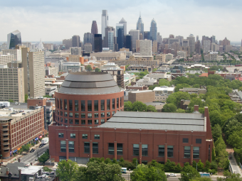 Huntsman Hall with Philadelphia skyline