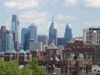 Penn with Philadelphia skyline