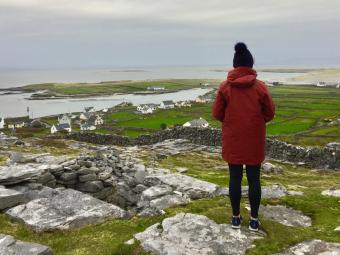 Erin Feeney overlooking town in Ireland.