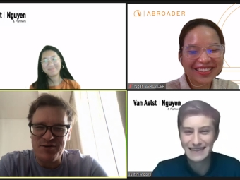 Interns on a Zoom call
