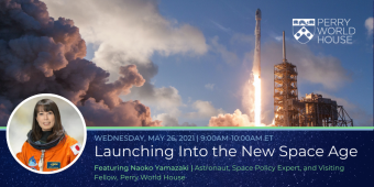 Promotional flyer for the event 'Launching into the New Space Age' on May 26, 2021 at 9am ET