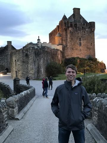Eric visiting a castle in Scotland