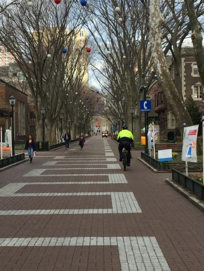 Penn Police Bicycle Officer on Locust Walk