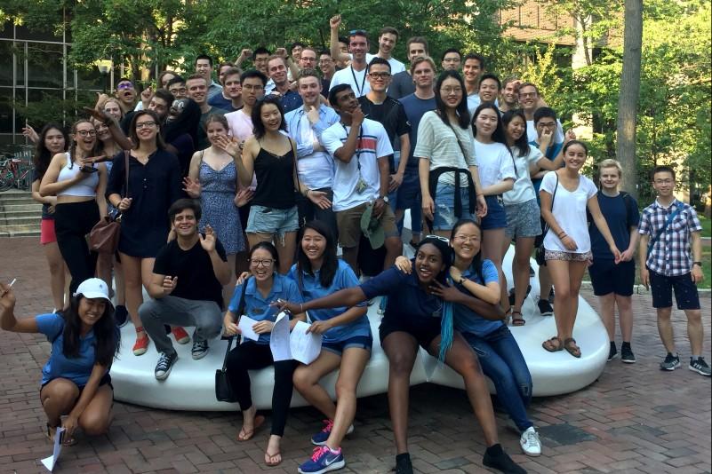 Exchange Students in Front of Van Pelt Library