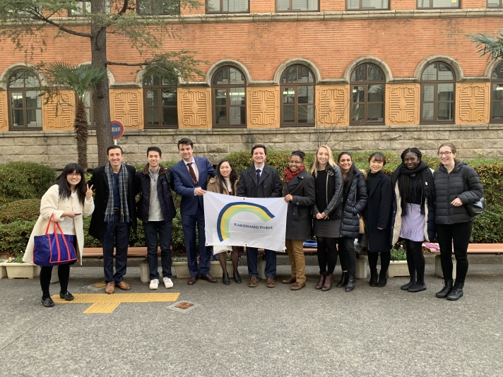 Penn students post with Japanese students at Sophia University in Tokyo