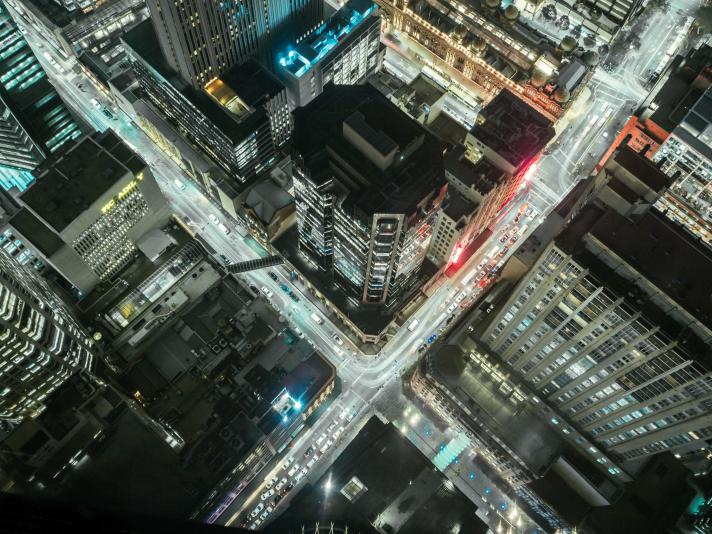 City roads seen from above