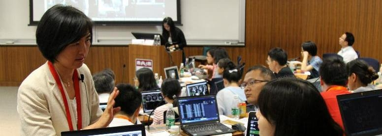 "Professor Yuchi Han leads a workshop at the Penn Wharton China Center in July 2019 for her CREF project, ""Penn China Cardiovascular Imaging Project."""