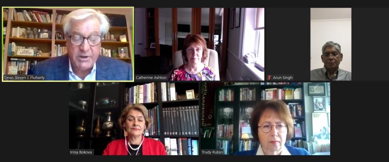 Screenshot of the virtual event featuring Baroness Ashton, Ambassador Singh, Ambassador Bokova and Trudy Rubin