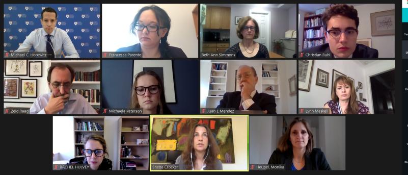 Screenshot of a virtual workshop during the colloquium