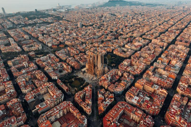 The city of Barcelona viewed from above