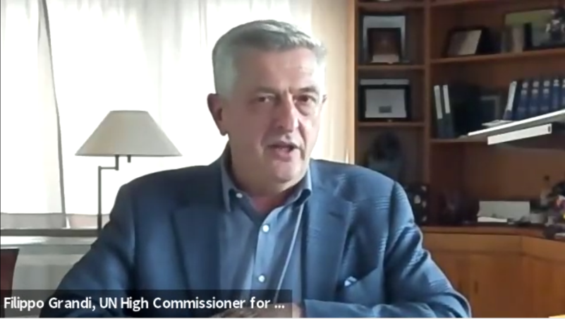 Filippo Grandi speaks at a virtual event at Perry World House