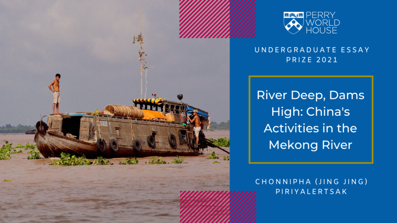 Promotional graphic for 'River Deep, Dams High: China's Activities in the Mekong River'