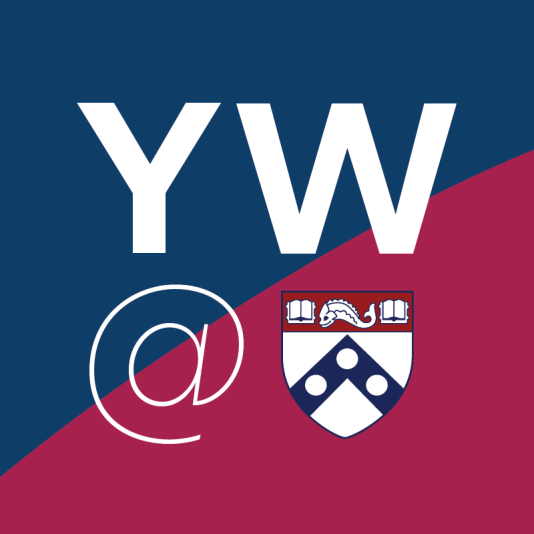 Logo for the Your World@Penn network. The letters Y W @ followed by the Penn shield on a blue and red background.