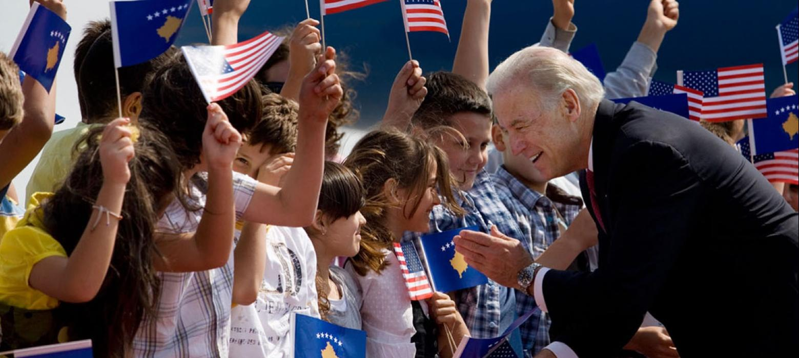 Biden greeting kids