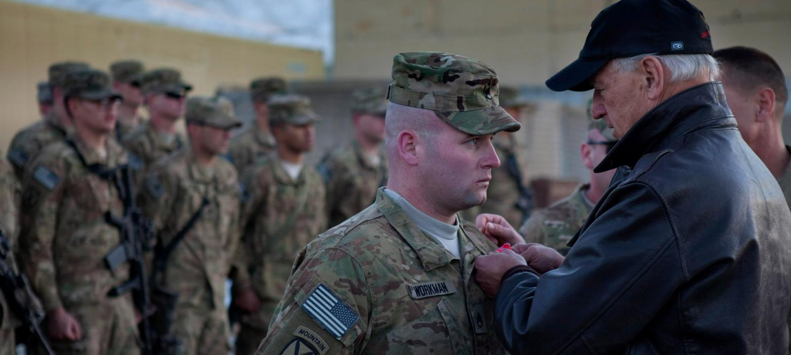 Joe Biden awards a Bronze Star to Staff Sergeant Workman in Wardak Province, Afghanistan.
