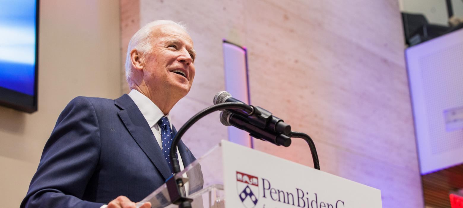 Joe Biden speaks at a reception for the Penn Biden Center.
