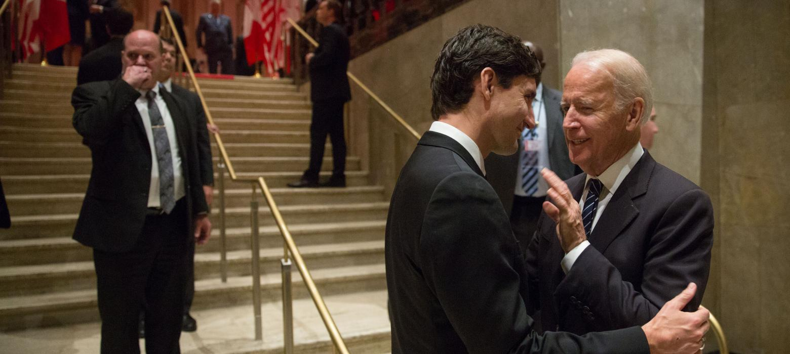 Joe Biden speaks with Prime Minister Justin Trudeau.