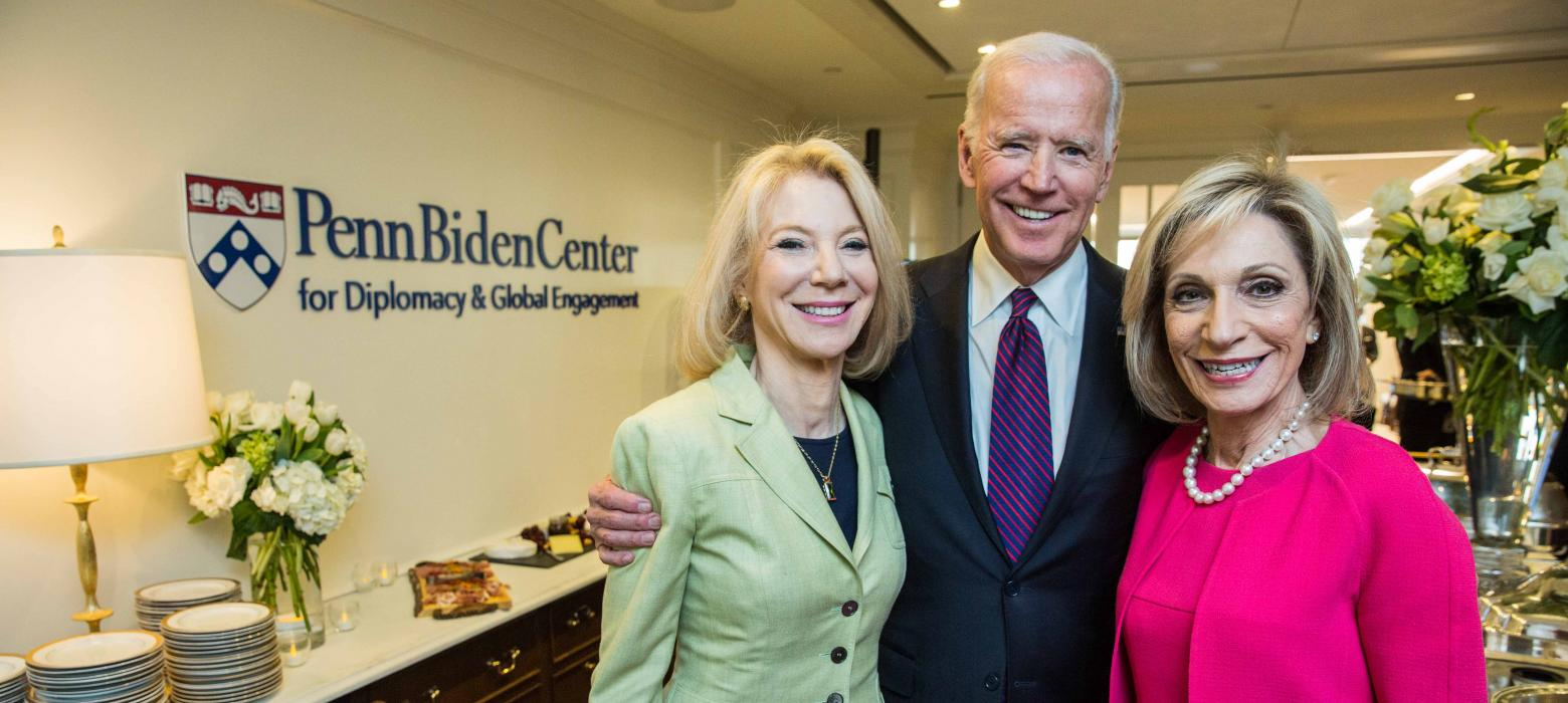 Amy Gutmann, Joe Biden and Andrea Mitchell at the Penn Biden Center