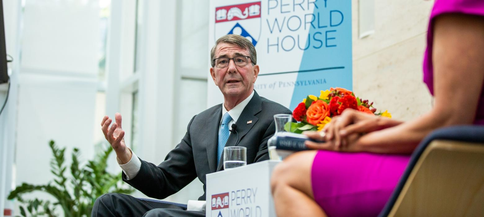 Ash Carter, U.S. Secretary of Defense from 2015 to 2017, speaks at our Fall 2019 Colloquium