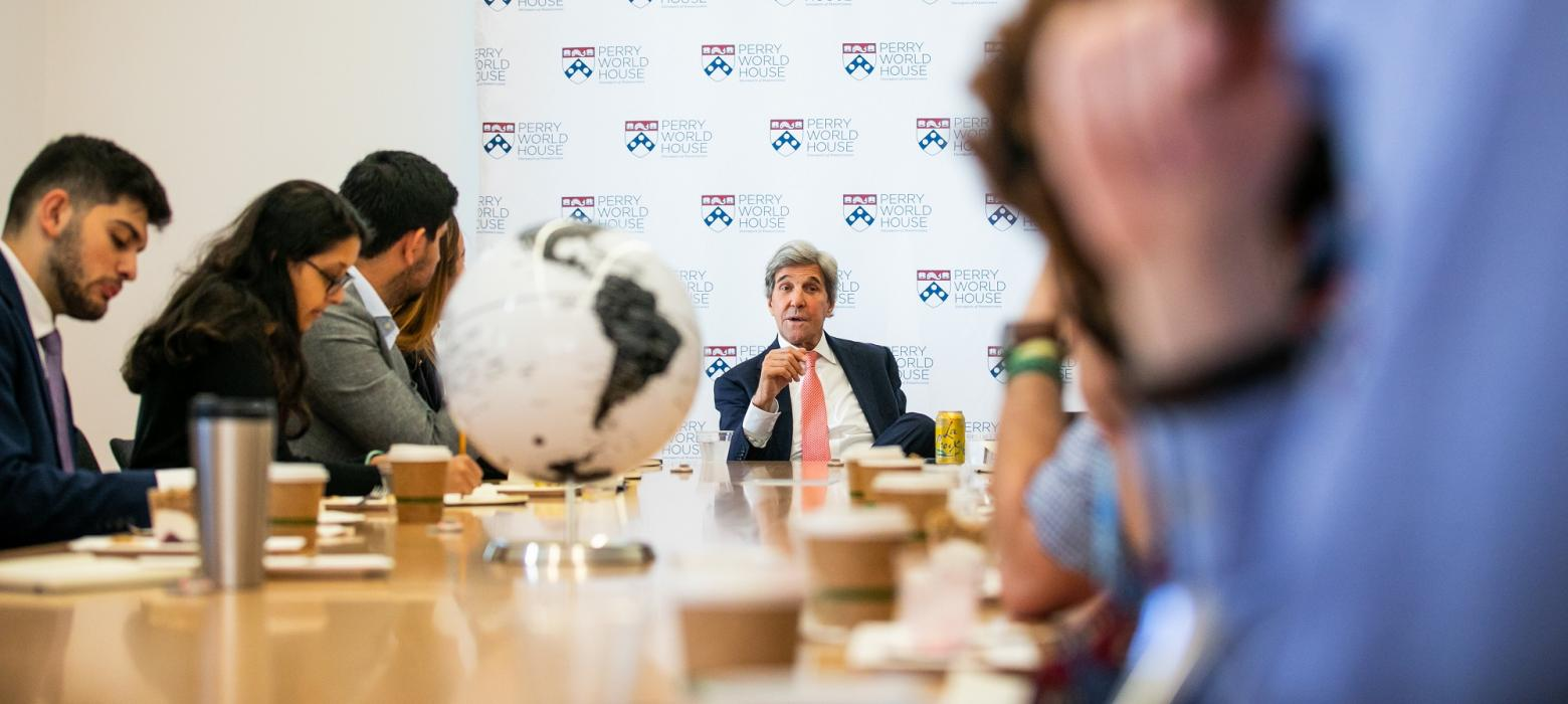 John Kerry meets with Perry World House Graduate Associates and Student Fellows at our Fall 2019 Colloquium